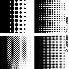 puntos, patrón, gradiente, conjunto, halftone
