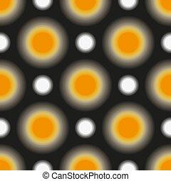 puntos, patrón, polca, seamless, amarillo, oscuridad, blanco brillante, unsharp