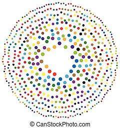puntos, resumen, aleatorio, círculos, forma, elemento, ...