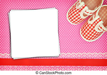 puntos, shoes, polca, bebé, plano de fondo, blanco, tarjetas