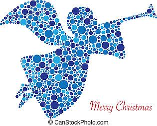 puntos, silueta, alegre, ángel, navidad