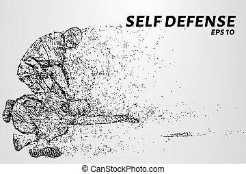 puntos, silueta, illustration., attacker., autodefensa,...