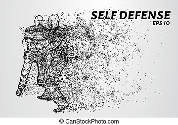 puntos, silueta, illustration., autodefensa, contra,...