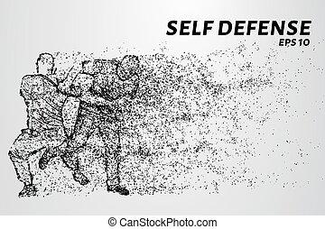 puntos, silueta, illustration., autodefensa, particles.,...