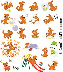 Pup - Vector illustrations of a funny brown puppy playing