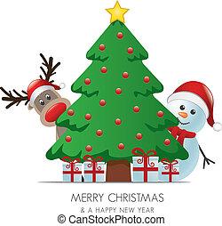 pupazzo di neve, albero, renna, regali, dietro, natale