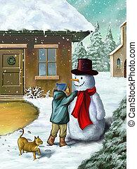 pupazzo di neve, bambini