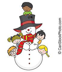 pupazzo di neve, bambini giocando