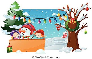 pupazzo di neve, bambini, scena inverno