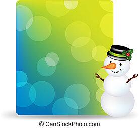 pupazzo di neve, berretto, etichetta, regalo, vuoto