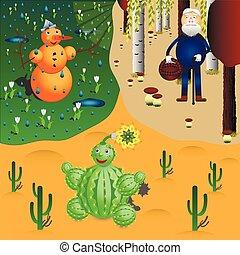 pupazzo di neve, cactus, e, oldman