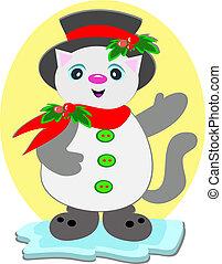 pupazzo di neve, cappello a cilindro, gatto