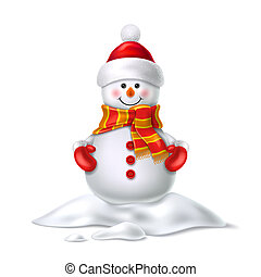 pupazzo di neve, carino, realistico, vettore, cappello, ...