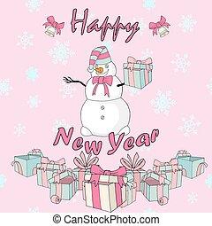 pupazzo di neve, cartolina, vettore, regalo