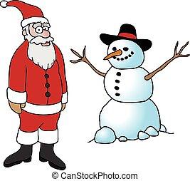 pupazzo di neve, disegnato, santa, mano