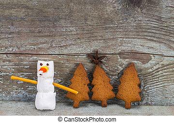 pupazzo di neve, divertente, concetto, marshmallow, legno, -, numero, nuovo, 2018, fondo, anno, pan zenzero, felice