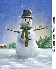 pupazzo di neve, e, pettirosso