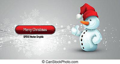 pupazzo di neve, eps10, positivo, natale, atteggiamento, vettore, fondo, bandiera, |