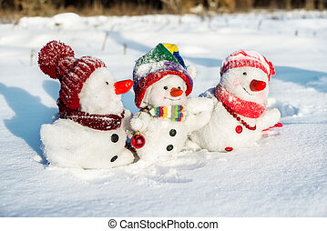 pupazzo di neve, famiglia, felice