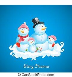 pupazzo di neve, fondo., vettore, natale, felice