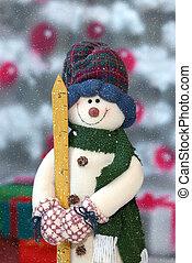 pupazzo di neve, in, il, nevicata