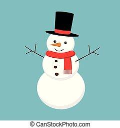 pupazzo di neve, isolato, illustrazione, fondo., vettore, natale