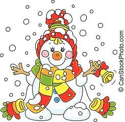 pupazzo di neve, natale, campana