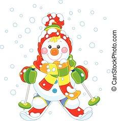 pupazzo di neve, natale, sciatore