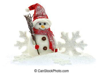 pupazzo di neve, neve bianca, fondo, isolato