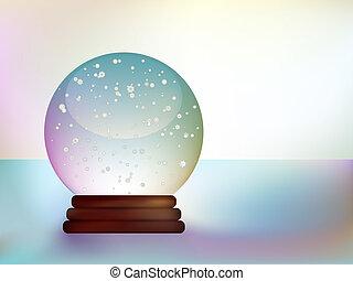 pupazzo di neve, palla vetro, paesaggio., nevoso