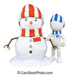 pupazzo di neve, persone., bambino, fabbricazione, bianco, 3d