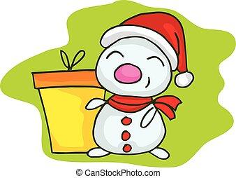 pupazzo di neve, piccolo, tema, regalo natale