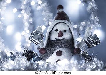pupazzo di neve, portato, 2, regali, natale