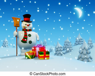 pupazzo di neve, presenta, postcard: