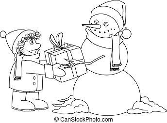 pupazzo di neve, ragazzo, coloritura, natale, pagina, presente, dà
