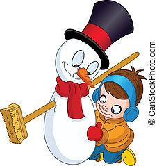 pupazzo di neve, ragazzo, fabbricazione