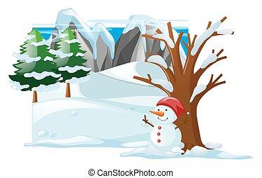 pupazzo di neve, scena, inverno, neve