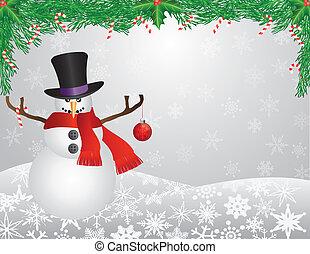 pupazzo di neve, sciarpa, fondo, illustrazione, ghirlanda