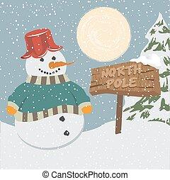 pupazzo di neve, vendemmia, natale, manifesto