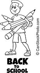pupil boy back to school cartoon coloring book