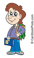 Pupil boy with school bag - isolated illustration.