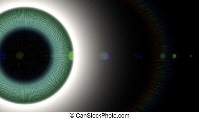 Pupil eye eyeball. Attention focus news. Glow God halo. Space universe ray light.