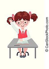 Pupil girl raising hand for an answer at the desk.