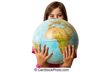 pupil, globe, schattig, vasthouden, het glimlachen