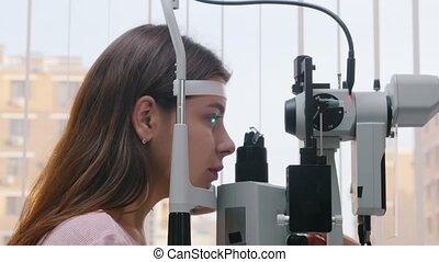 pupil, haar, vrouw, visueel, jonge, reactie, -, controleren,...