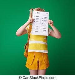 pupil hiding behind bad grade test on green background