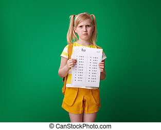 pupil holding bad grade test isolated on green background