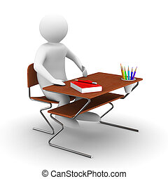 pupil sits at school desk. Isolated 3D image