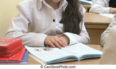The pupil sitting at the school desk reads the school textbook indoors
