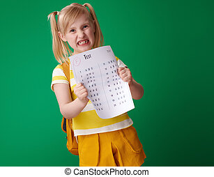 pupil tearing bad grade test isolated on green background